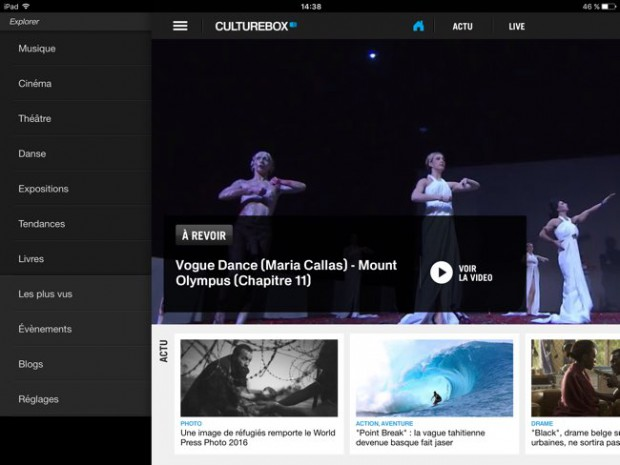 Application ipad culturelle de France télévision - Culturebox